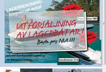 Fjolårsbåtar säljs ut till rabatterade priser på Wik Marin i uppsala. Bilden är från deras webbplats.