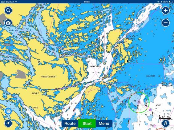 Samma sjökortsbild för iPad. Navionics har ett programvarufel i sin version 5.0av Android. I mitten av juni ska det vara rättat enligt Hans-Christian Grande på Navionics.