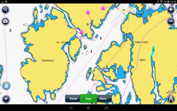 Samma område i Navionics sjökort i Android.