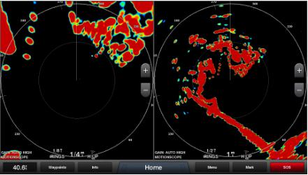 Dual range betyder att två olika skalor kan användas på samma bildskärm. Den ena för ett inzoomat område, den andra för en större överblick.