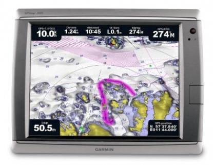 Från februari 2011 säljs Bluecharts sjökort medsenaste kartografi från Sjöfartsverkets S57-data. Bilden visar Bluecharts äldre karografi.