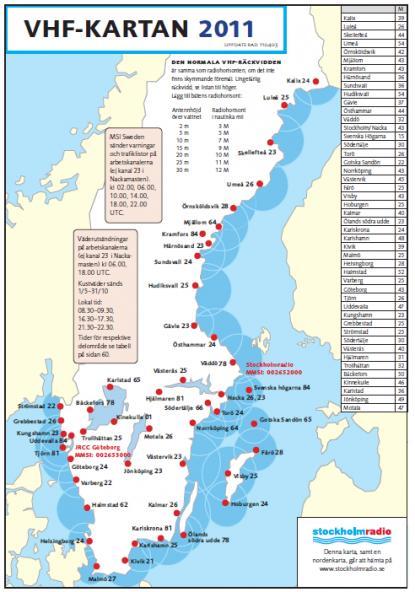 De röda punkterna är radiomasternas placering runt svenska kusten. Det är via dessa master som radioreklam sänds till båtfolket via VHF från Stockholmradio.