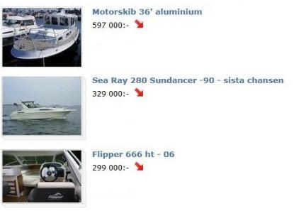 Röda pilar betyder att säljarna har sänkt priset. Bilden är ett fotomontaget med underlag från blocket.se
