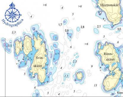 Den streckade linjen anger en djupkurva på fyra meter. Några av sjökorten över Stockholms skärgårdar har fått den nya djupkurvan införd i år.
