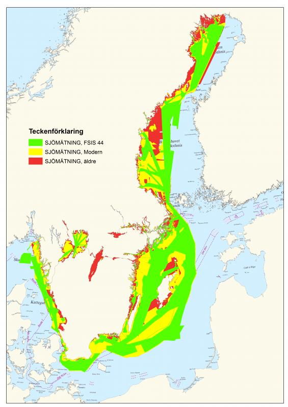 Röda områden ärsjömätta före 1940. Djupmätningarna gjordes med handlod. Därför gäller det att vara extra försiktig när vi färdas inom rött område och utanför farleden. Bilden är uppdaterad i januari 2018.