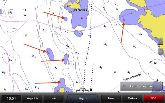 Samma område inzoomat till 120 meter. Två av fem djupsiffror framträder.