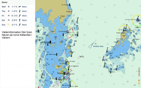 Här ser vi väder och AIS på samma sjökortsbild från Vänern. Fartyget \