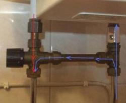 Varmvattnet (röd färg) kyls av kallvatten (blå färg) när det kommer ut från beredaren.