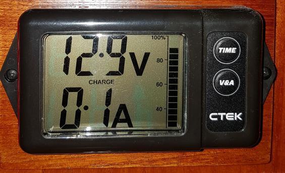 Batterimätaren System Monitorvisar aktuell laddning. Här från solcellen en mulen och sen eftermiddag. Aktuell spänning visas och aktuell kapacitet i batteribanken där 100 % är fulladdat.