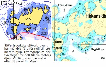 Främst är det tremeterskurvan som justeras i Sjöfartsverkets kort. All den djupinformation som syns till höger i Hydrographicas kort ryms inte i Sjöfartsverkets kort på grund av stora skillnader i skalan.