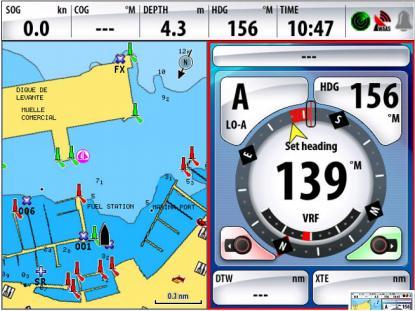 Här ändrar vi kurs åt babord (rött fält aktiverat)med autopiloten från nuvarande 156 grader till 139.