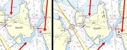 Den vänstra bilden visar hur det såg ut innan justeringar, den högra efter. Bilden är från Ångermanälvens mynning vid Sandöbron.