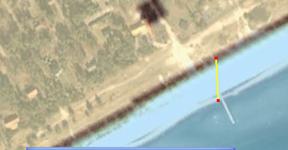 På sydkusten ligger strandlinjen cirka 45 meter längre ut än i sjökortet.