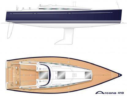 Nya Arcona 410 är ett bra exempel på en modernt designad båt med rak stäv, bred och platti aktern, stor sittbrunn och stor volym invändigtsamt fina seglingsegenskaper. Sådana här båtar finns inte bland de äldre från 70- och 80-talet