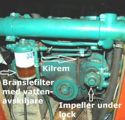 Bränslefiltret har en vattenavskiljare. Under bottnen sitter en skruv. Genom att lossa på den kan man tömma filtret på eventuellt vatten.