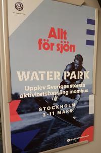Båtmässans marknadsföring går ut på att lyfta fram aktivitetsbassängen Water park.