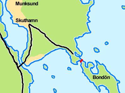 Det rödmarkerade området visar kanalen som gjort Bondön till en ö igen. Piteå ligger alldeles norr om kartbilden.