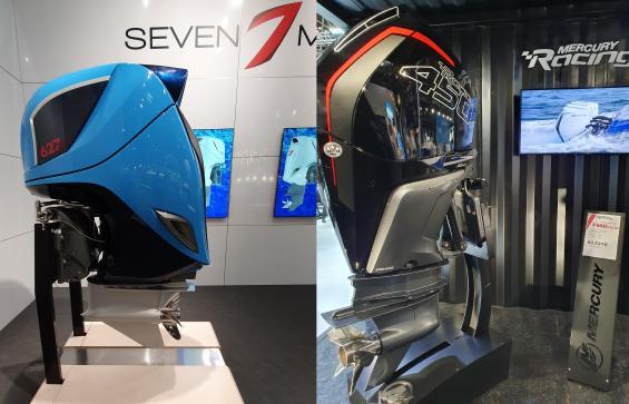 Seven Marine är Volvo Pentas nya utombordarmärke. Till vänster i bild syns den nya som har över 600 Hkr. Mercury visade sin nya 450 Hkr stora motor. Mercurymotorn kostar över 60 000 Euro.