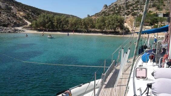 På platser där det inte finns svall och havsvågor och man har koll på tidvattnet kan man ankra med små marginaler. Något som ibland är nödvändigt för att kunna få en fin plats nära stranden. Här ligger jag 2013 med min båt Sarita, på ön Schinoussa söder on Naxos med ett huvudankare från fören, två linor i land och ett sidoankare mot den byiga Meltemin.