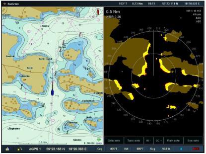 Bilden visar sjökortsunderlaget i form av ett raster på radarbilden till höger. Eftersom även rategyrokompassen var monterad i masttoppen blev inte radarbilden stabilvid radaröverlägg. Ett rategyro passar bäst lågt placerad.