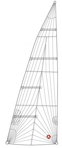 Ett lösfotat triradial storsegel med två fullängdslattor.