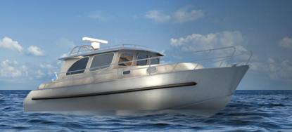 M 10,5 heter första båten som byggs av SSY AB i Gävle. Prototypens skrovtjocklek är bara 2 mm. och båten byggs i stålplåt.