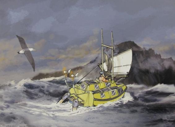 Med denna tre meter långa båt ska Sven Yrvind kappsegla non-stopjorden runt. 600 dagar beräknas seglingen ta.