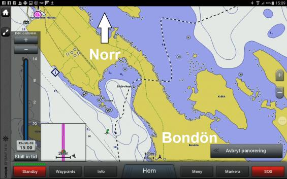 Nej, sjökortsbilden ljuger inte. Vi gick med vår segelbåt rakt över land (se svartvita spåret). Bondökanalen är öppnad, men sjökorten är ännu inte uppdaterade.