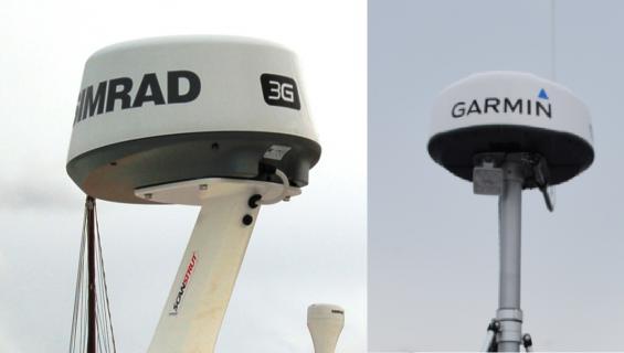 Till vänster en bredbandsradar och till höger en magnetronradar. Magnetronradarns skyddskåpa är lägre.