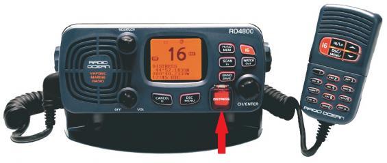 Fast VHF-station på 25 watt med nödknappen \