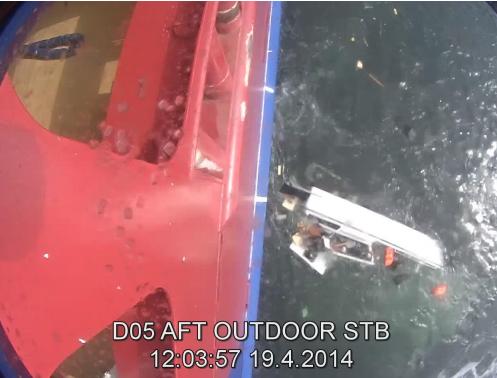 Taxibåten fick allvarliga skador och sjönk. Tre personer hamnade i vattnet. Alla tre räddades mycket tack vare att en person såg olyckan från land och snabbt var på plats med egen båt. Bilden är från slutrapporten.