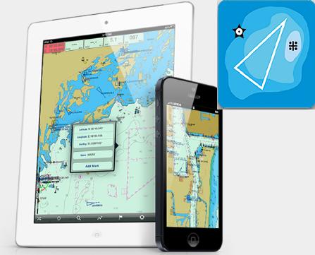 Seapilot kan användas i surfplattan eller i telefonen. Fast inte i båda plattformarna samtidigt.Växla när du vill. Appens logga till höger i bild.