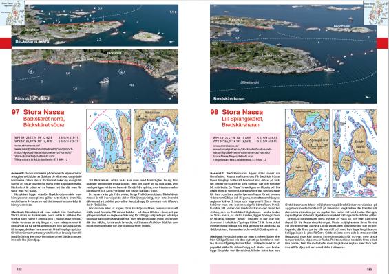 Hamn 97 och 98. Nya sjökortsbilder och nya flygbilder ser vi här över Stora Nassa.Notera också den nya symbolen som markerar förslag på plats för svajankring i andra sjökortsbilden från vänster. Ett ankare omslutet av en trekvarts cirkel med pil.