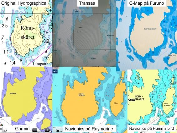 Bilden visar samma område med Hydrographicas originalsjökort uppe till vänster. Övriga fem bilder visar hur Garmins BlueChart, C-Map, Navionics och Transaspresenterar det på sina sjökort. Notera också att Navionics har olika färger i Raymarines och Humminbirds navigatorer.