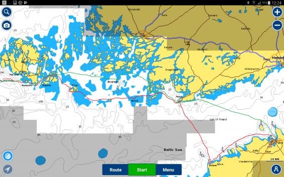 Röd linje är vår rutt till Tallinn och grön linje visar återfärden.