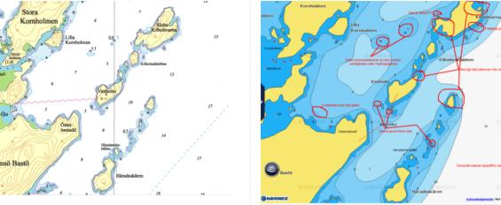 Vänstra sjökortsbilden är originalet från Hydrgraphica. Den högra är Navionics sjökortsbild över samma område. Det med rött är felaktigheter som smugit sig in vid konverteringen från Hydrographicas original till Navinics eget sjökort. Båda bilderna är från 2014 års upplaga. Se tydligare bild längre ned i artikeln.