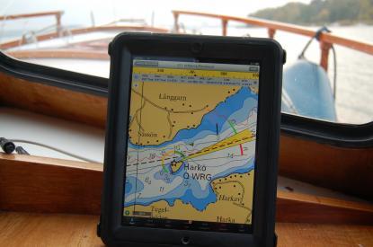 I skyddad miljö, här i styrhytten, fungerar iPad \