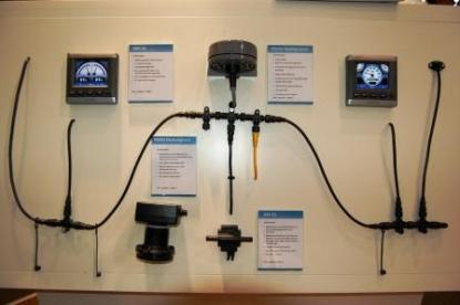 Ett NMEA 2000 certifierat nätverk från Garmin. Överst i mitten ser vi en kompass. Till nätverket kopplas även GPS-antenn, navigatorer med mera.