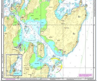 Första sjökortet över Ekens skärgård i Vänern är klart. Det är den östra delen med bland annat Läckö slott och den populära hamnen Spiken. OBS, sjökortsbilden är klippt här.