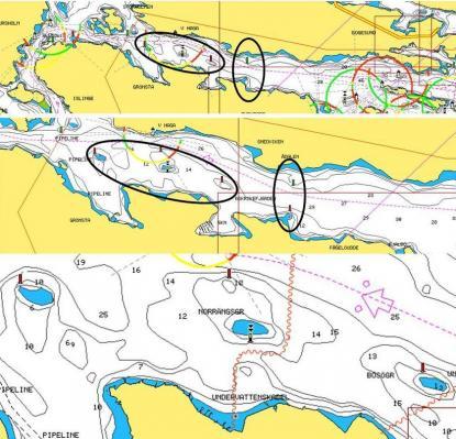 Bilden visar problematiken med grundinformation som framträder först vid stor inzoomning. Ligger felet i navigatorn eller i sjökortet?