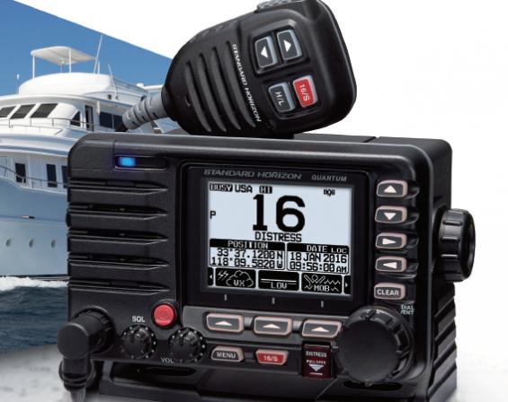 Standard Horizon VHF GX6500 med inbyggd AIS-sändning och GPS-antenn.
