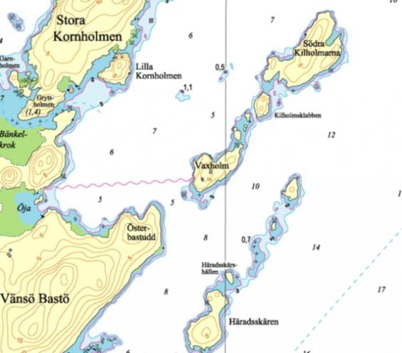 Jämför sjökortsbilderna som är ett exempel av många. Till exempel är Hydrographicas 3-meterskurvafelaktikt inritad i Navionics sjökort.