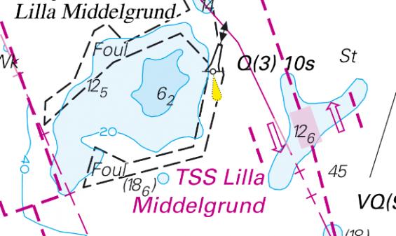Öster om Lilla Middelgrund införs ett trafiksepareringsområde, TSS, med heldragna pilar. Fartyg som går i det måste följa pilarnas riktning.