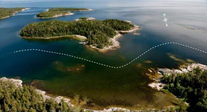 Flygfoto över passagen vid sjökortets ruta 4.