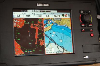 Möjligheten att justera bilden med2/3 radaroch sjökort 1/3 är på gång enligt Simrad.