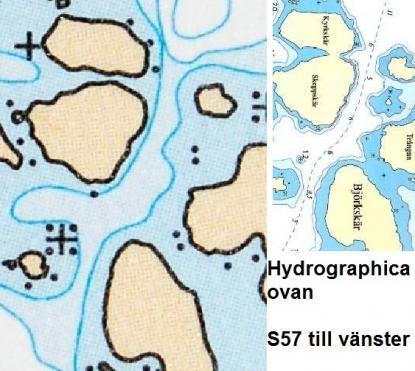 Sjöfartsverket och Hydrographica har inte med ön som inte finns. Korten är från samma tidpunkt.