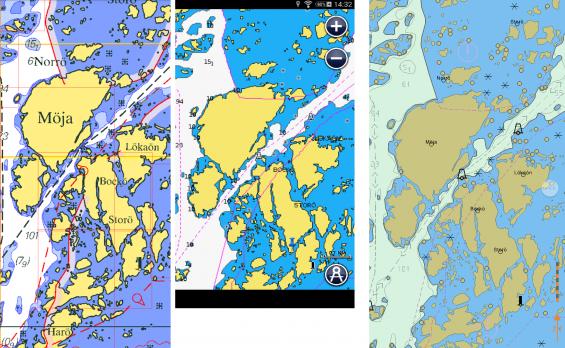 Från vänster: Marine Navigator, Navionics och Seapilot över samma område runt Möja i Stockholms skärgård.