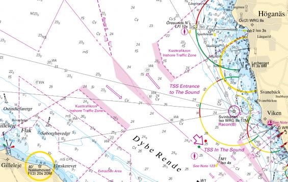 Trafiksepareringsområde TSS i norra Öresund. Notera Kusttrafikzonen innanför trafiksepareringsområdet.
