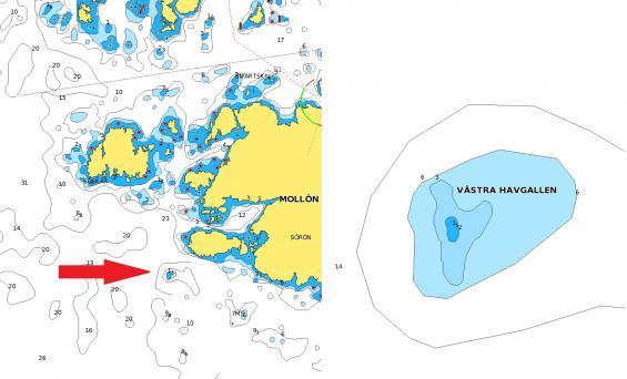 Västra Havgallen i Navionicssjökort 2019 visat i surfplatta. Djupsiffran följer med hela vägen vid steglös zoomning från vänstra bilden till högra vid inzoomning.