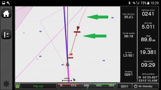 Vid övre gröna pilen syns spåret efter det mötande fartyget. Notera att de har girat babord för att väja för oss. Vid nedre gröna pilen syns att de fortfarande ligger på en babordsgir. Röda vektorn framför fartyget viker av åt babord.